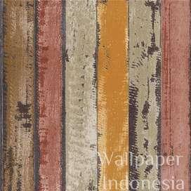 Wallpaper Dinding Murah - 5m2 - Kayu Coklat - De Cafe 509-1