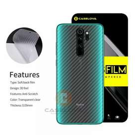 Garskin Skin Carbon Sticker Transparant Redmi Note 8 Pro Mediatek G90T