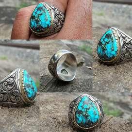 NATURAL PIRUS PERSIA BLUE FANCY RING UKIR HANDMADE AJIB