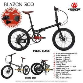 Sepeda Lipat 20 Pacific Blazon 300 murah 10 Speed banyak Bonus