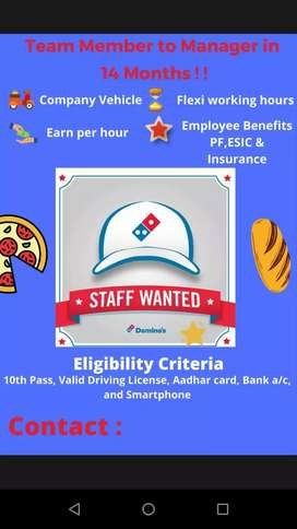 Dominos pizza Hiring on pay per delivery basis u can earn