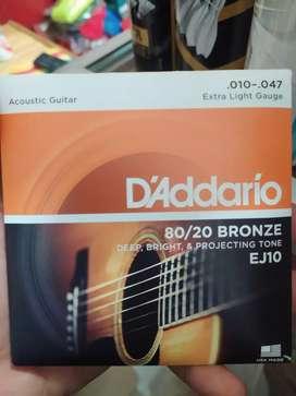 Senar Gitar Akustik D'Addario Original Ukuran 0.10