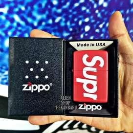 Zippo SUPER SUPREME merah korek api minyak premium