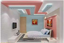 False ceiling and wallpapers By Grand Interiors