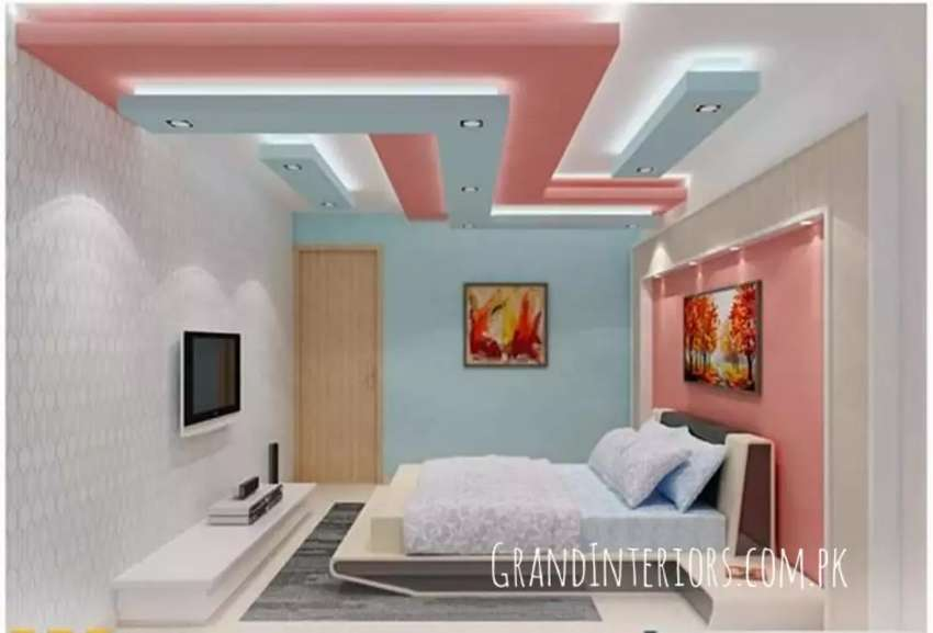 False ceiling and wallpapers By Grand Interiors 0
