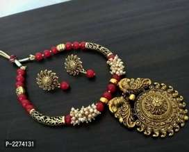 Gold beads necklace set with earrings