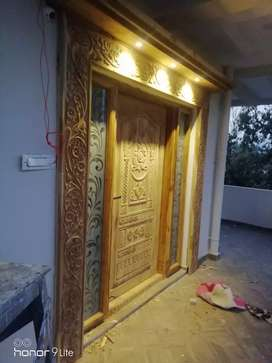 Wood carving doors corving