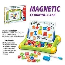 Mainan Edukasi Papan Tulis Magnet Huruf dan Angka