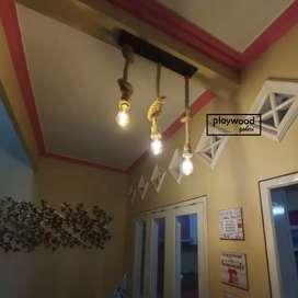 Lampu Gantung Tambang Retro Industrial tuk Dekor Interior Ruangan Cafe