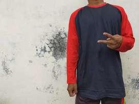 Kaos raglan panjang badan hitam