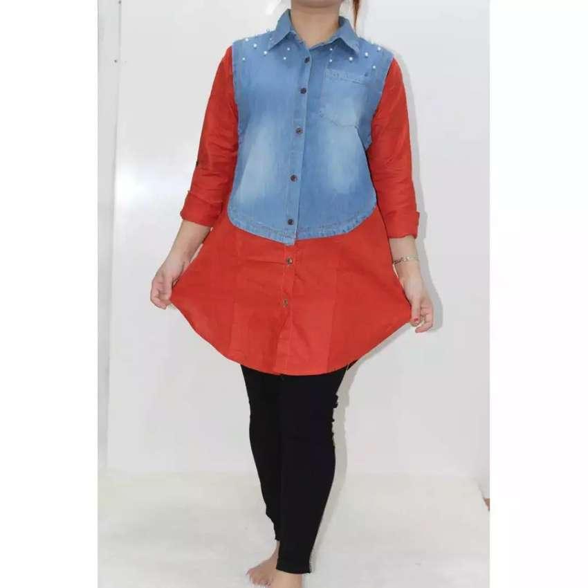 Tunik Wanita Jeans Kombinasi Katun Mutiara Ld 104cm  Pb 75 cm 0