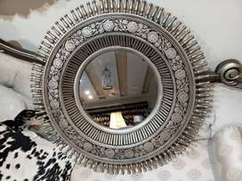 Wooden mirror of pure sheesham wood pianted in silver & black antique.