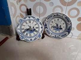 Jam keramik original delft made in holland,motif kincir angin antik