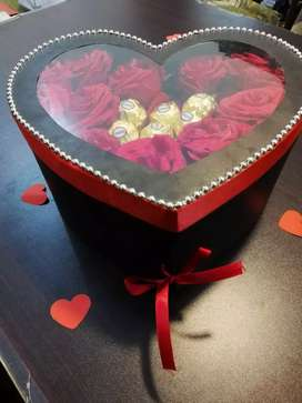 Valentine day gift double decker heart chocolate box