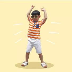 Kosta Tee - Kaos Anak Murah - Kaos Salur Anak 6-10 tahun