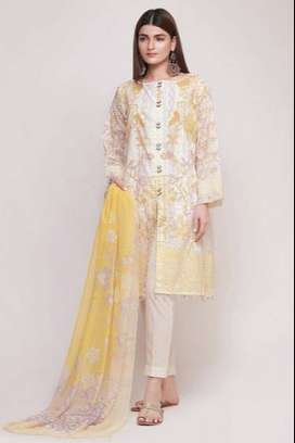 Unstitched fabric khaadi DF19102 Yellow 3Pc