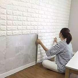 Wallpaper Dinding Foam 3D Batu Bata Putih Size 70 X 77 CM - White