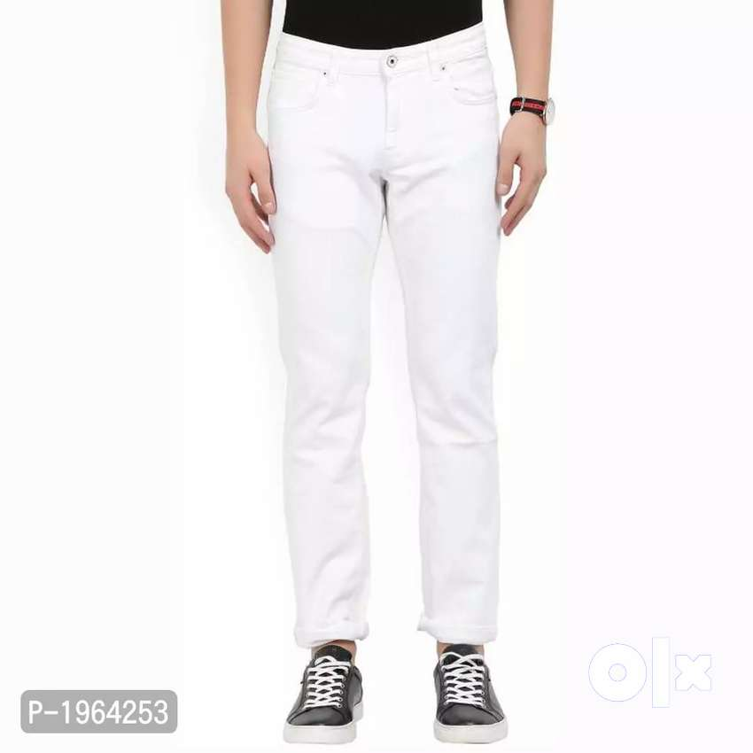 Men's White Trendy Slim Fit Mid-Rise Jeans Color whitd 0