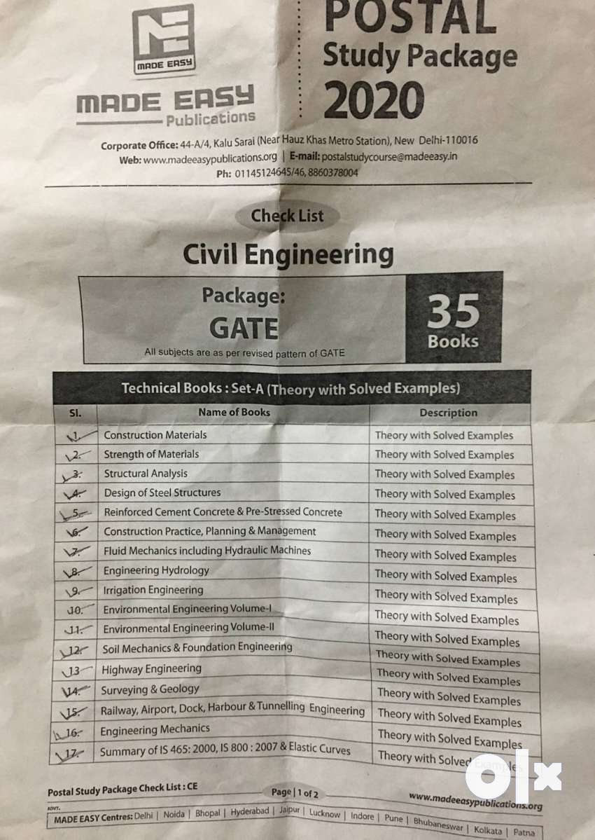 GATE 2020 civil engineering (MADE EASY PACKAGE)
