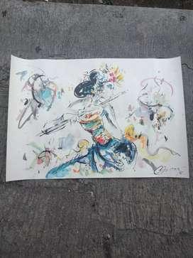 Lukisan kertas penari bali