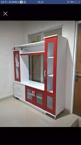 F16 meja tv minimalis, warna merah putih segar, pesan segera yo