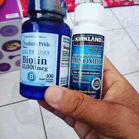 Paket penumbuh brewok,rambut,alis minoxidil dan 30 butir biotin ecer