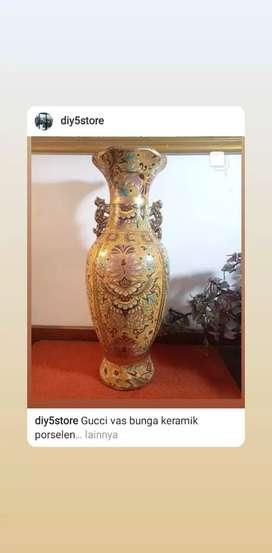 Guci vas bunga keramik porslen tinggi 46cm x dm 15cm