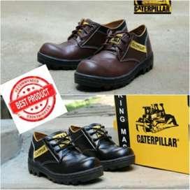 Sepatu safety boot caterpillar pendek coklat tua