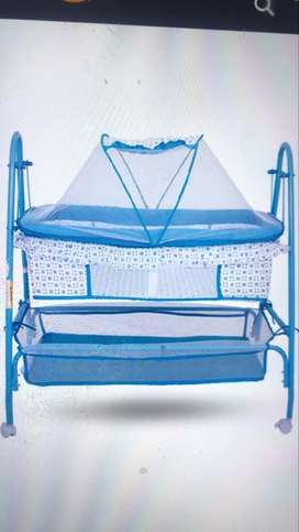 Baby's Blue And White Bassinet