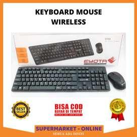 Paket Keyboard Mouse Wireless Buat Komputer PC Laptop Plug And Play