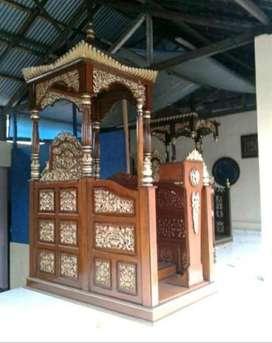 mimbar masjid ukkir nama kayu jati