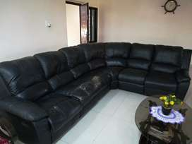 Leather Sofa with 2 Recliner seats & cup holder