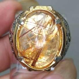 Cincin Batu Serat Rambut Benang Emas Kecubung Kinyang Asli