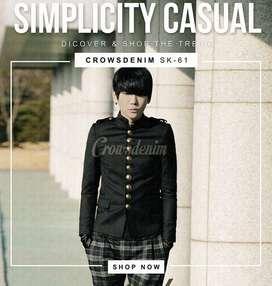 Blazer Keren, Blazer Black Casual Button Stright Korean Style