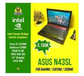 Laptop Grafis Asus N43SL   Intel Core i5 8GB 500GB - Nvidia 540M 2GB