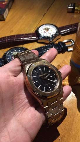 Jam tangan audemars piguet royal oak black rose gold second