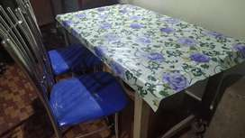 Wooden dining table with or without chairs