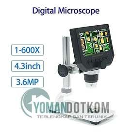 New - Mikroskop Digital 3.6MP 600X dengan Monitor & Metal Stand - G600