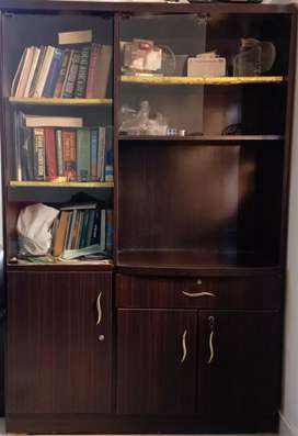 Brown Handmade Book Shelf with Cupboards + Writing Table