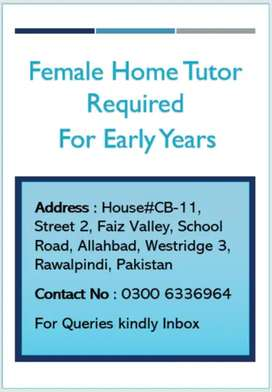 Female Home Tutor Required