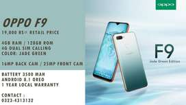 Oppo F9 4/128 with 1 year warranty 10/10 product