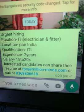 Hiring for ITI ( electrian & fitter)