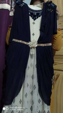 Party wear gown in blue color