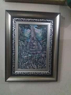 lukisan bali tradisional tinta di atas kertas judul ngaben mewah lux