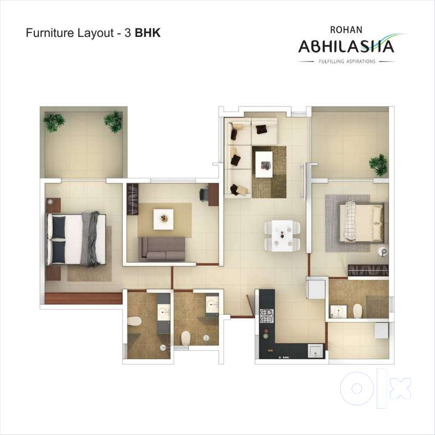 3 BHK Apartment for sale at Rohan Abhilasha at Lohegaon Wagholi road 0