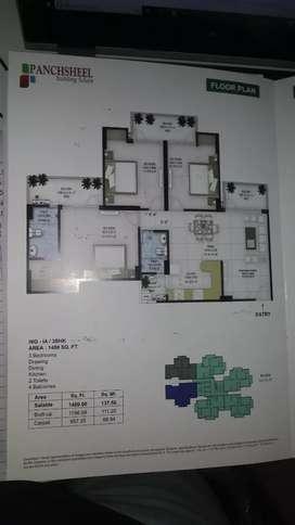 3bhk +2toilet+4 balconues