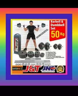 alat fitness gym dumbel barbel set 50 kg