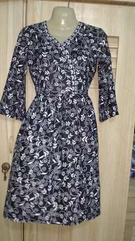 Black and white kurti frok lawn cotton fabric