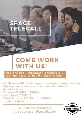 Looking for Call Center Agents in SPACE TELECALL LAHORE (Boys & Girls)