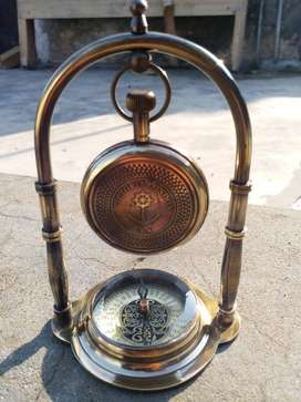 Antique Brass Stand clock with  Compass Clock 1876 Victoria full brass